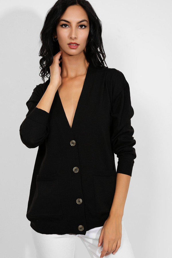Black Buttons Front Soft Knit Cardigan - SinglePrice