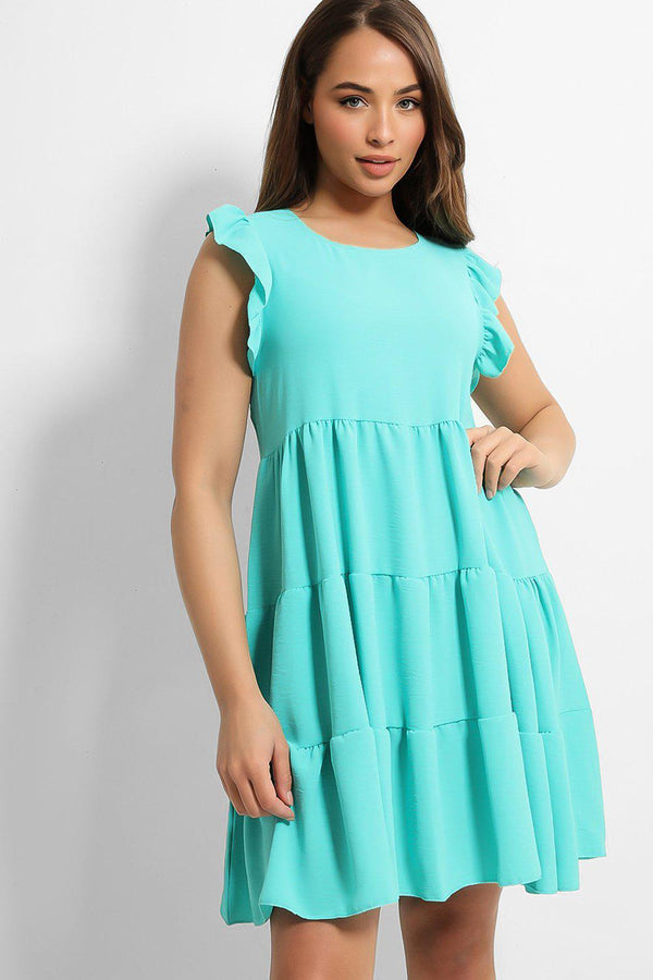 Aqua Frill Shoulder Tiered Midi Dress - SinglePrice