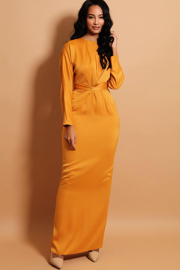 Mustard Satin Touch Wrap Over Belt Insert Maxi Dress - SinglePrice