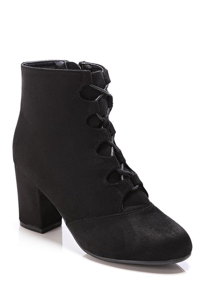 Black Lace Up Suede Ankle Boots-SinglePrice