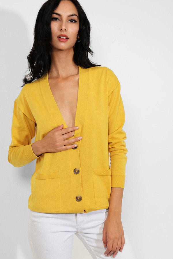 Yellow Buttons Front Soft Knit Cardigan - SinglePrice