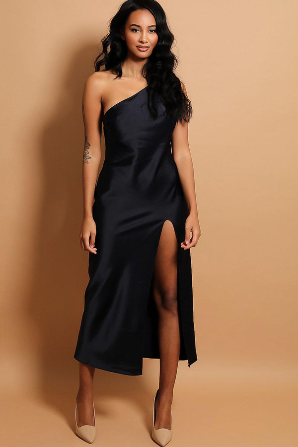 Navy One Shoulder Thigh Split Maxi Dress - SinglePrice