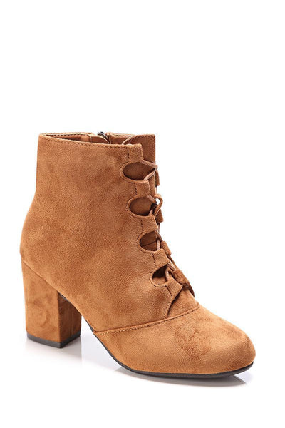 Camel Lace Up Suede Ankle Boots-SinglePrice