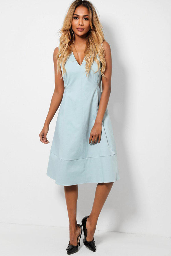 Blue V-Neck Large Pleats Sleeveless Tea Dress-SinglePrice