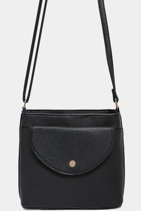 Mini Front Pocket Black Vegan Leather Crossbody Bag-SinglePrice