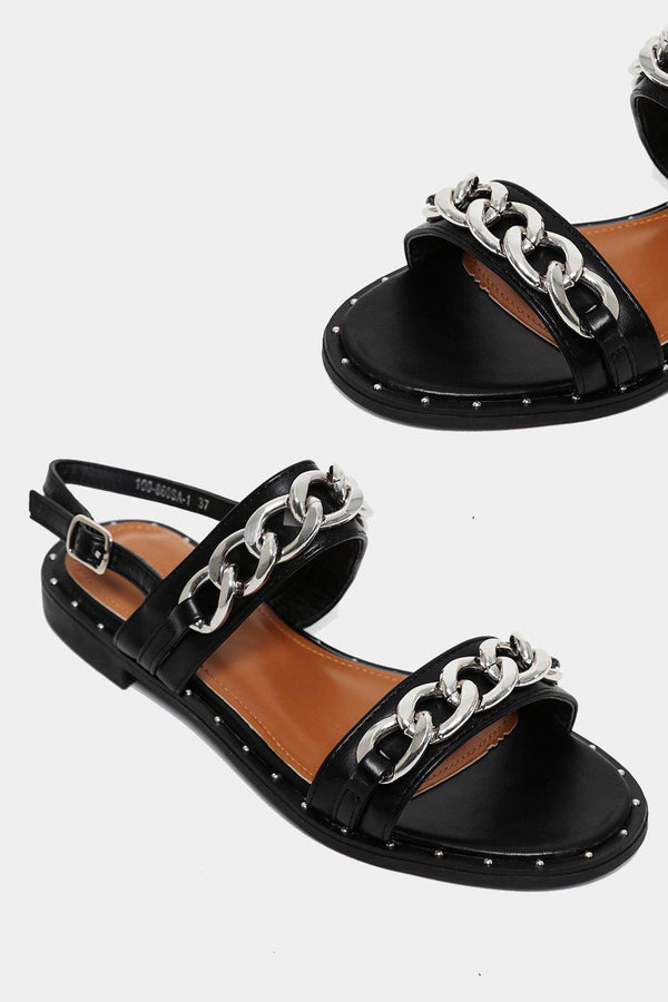 Black Chunky Chain Sandals-SinglePrice