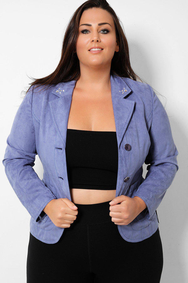 Lilac Vegan Suede Jewelled Details Three Button Jacket - SinglePrice