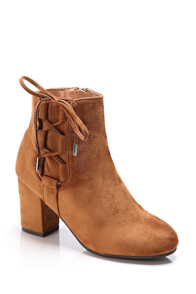 Camel Side Lace Up Suede Ankle Boots-SinglePrice