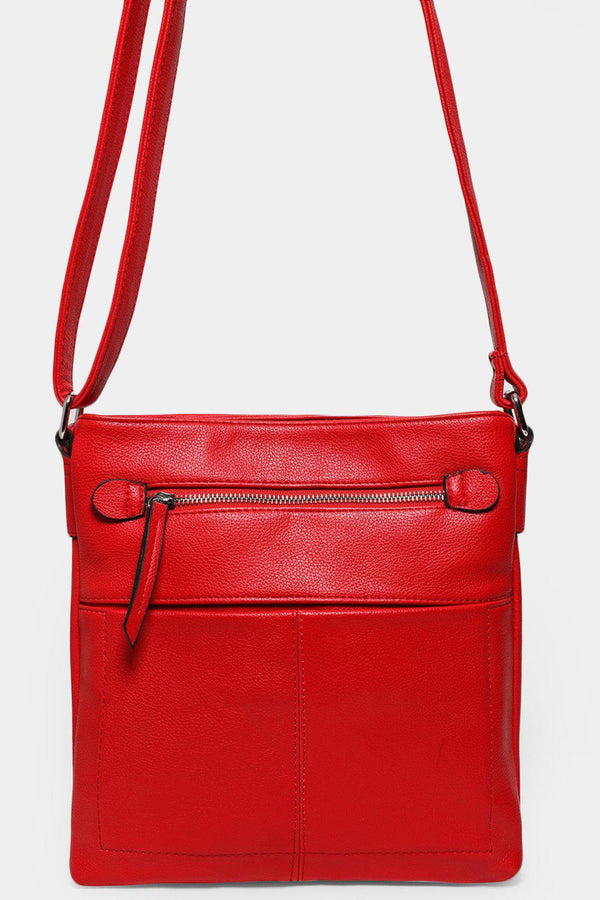 Red Textured Vegan Leather Twin Compartment Messenger Bag - SinglePrice
