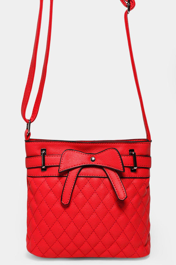 Red Bow Front Quilted Mini Shoulder Bag - SinglePrice