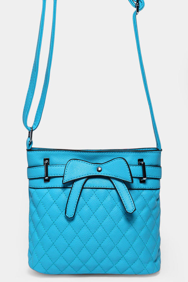 Blue Bow Front Quilted Mini Shoulder Bag - SinglePrice