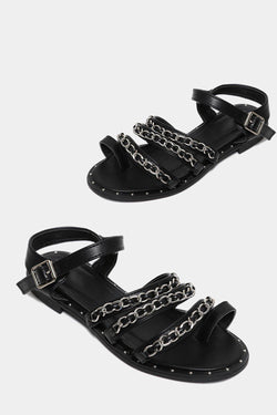 Black Chain Detail Sandals - SinglePrice