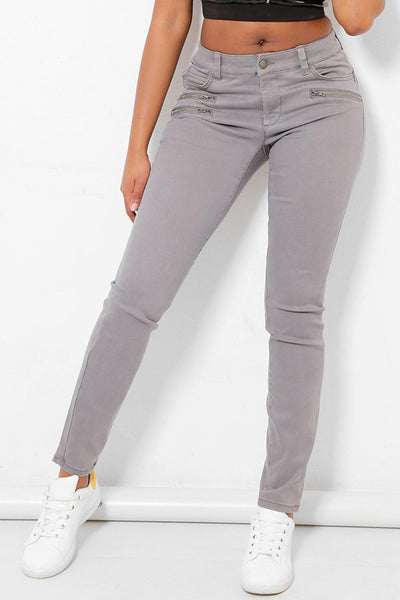 Grey Triple Zip Jeans-SinglePrice