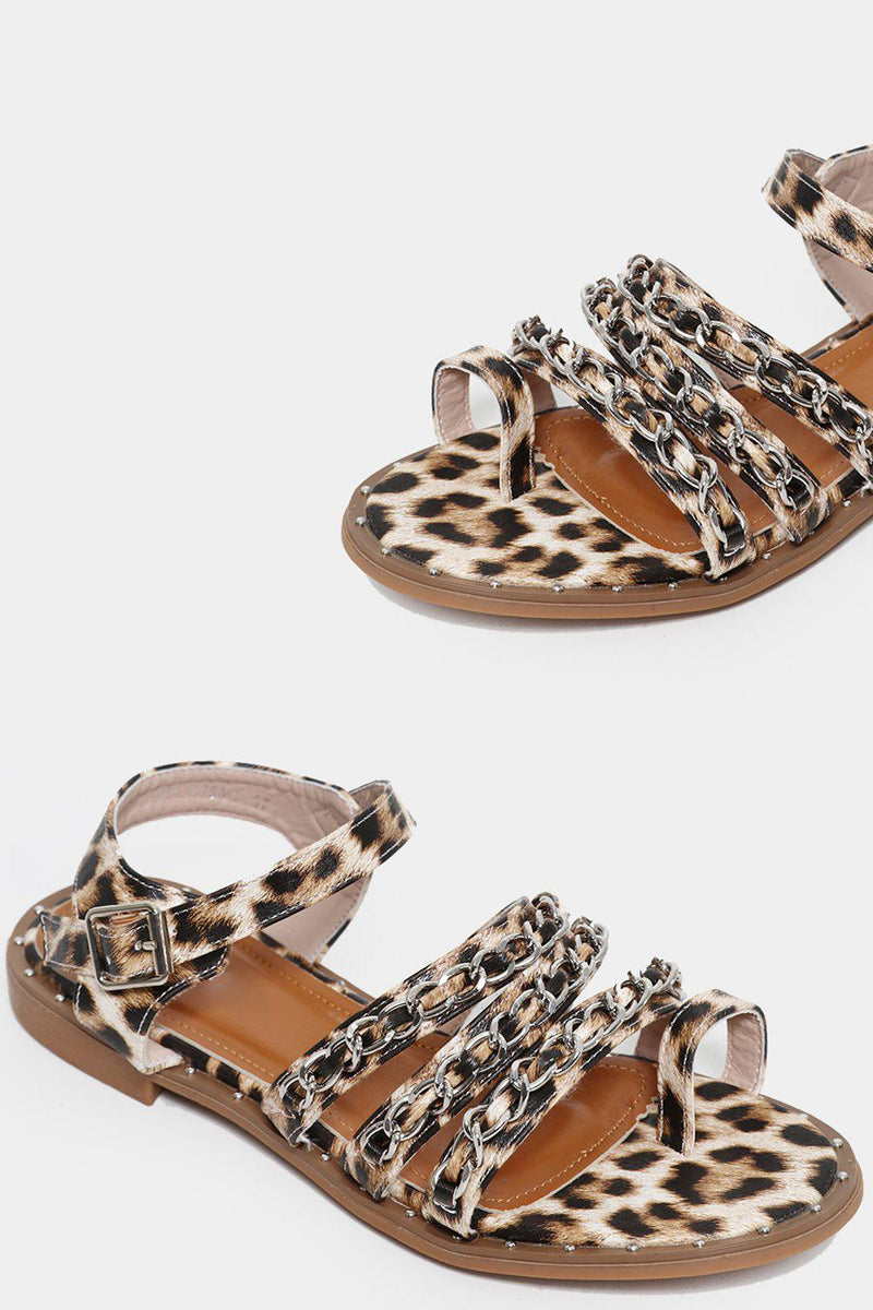 Leopard Print Chain Detail Sandals - SinglePrice