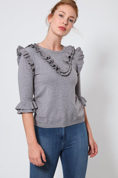 Grey Frill Details 3/4 Sleeves Pullover-SinglePrice