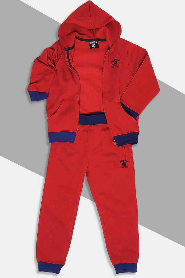 Burgundy Blue Full Zip Hooded Kids Tracksuit - SinglePrice