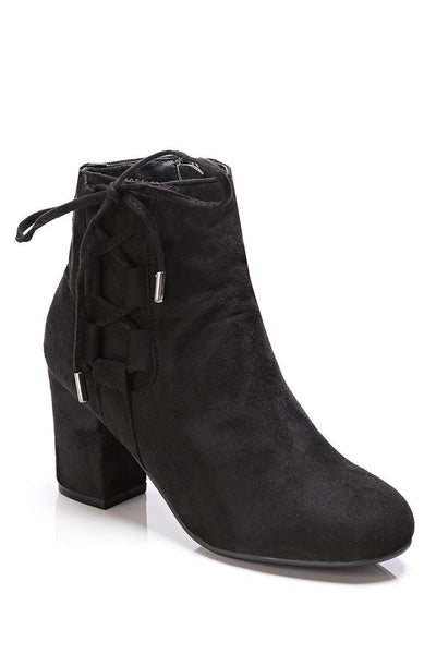 Black Side Lace Up Suede Ankle Boots-SinglePrice