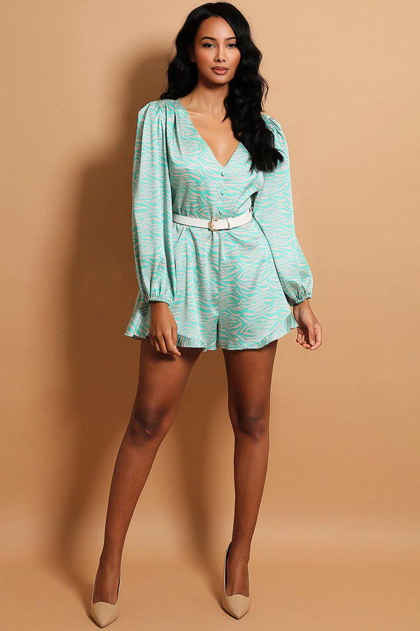 Green Pattern Button V-Neck Playsuit