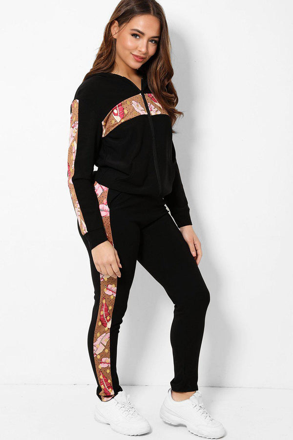 Brown Leaves Print Panels 2 Piece Tracksuit - SinglePrice