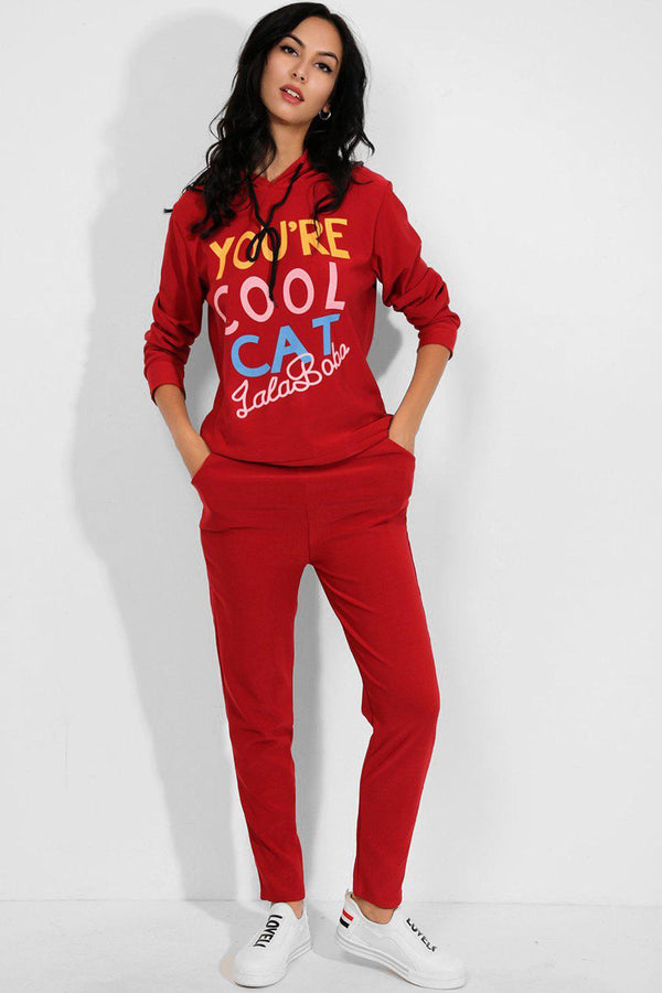 Burgundy Cool Cat Slogan Hooded 2 Piece Tracksuit - SinglePrice