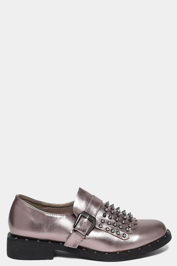 Gun Metal Studded Tassel Front Loafers-SinglePrice