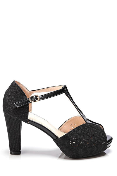 Shimmer Black T-Bar Sandals-SinglePrice