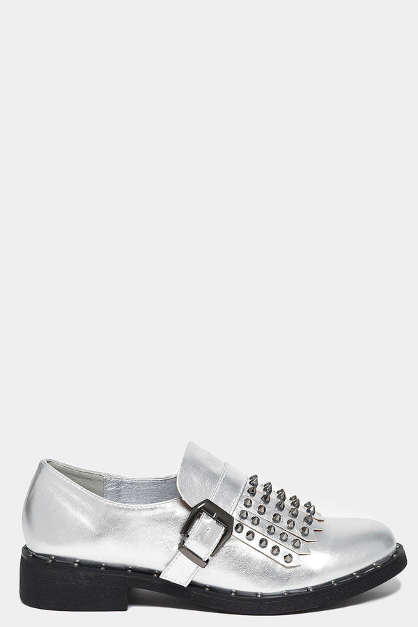 Silver Studded Tassel Front Loafers-SinglePrice