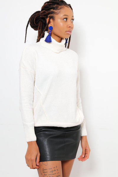 Turtle Neck Velvet Knit White Boxy Sweater-SinglePrice