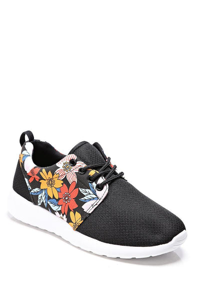 Black Floral Panel Trainers-SinglePrice