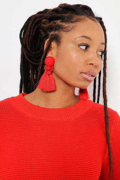Embossed Button Red Tassel Earrings-SinglePrice