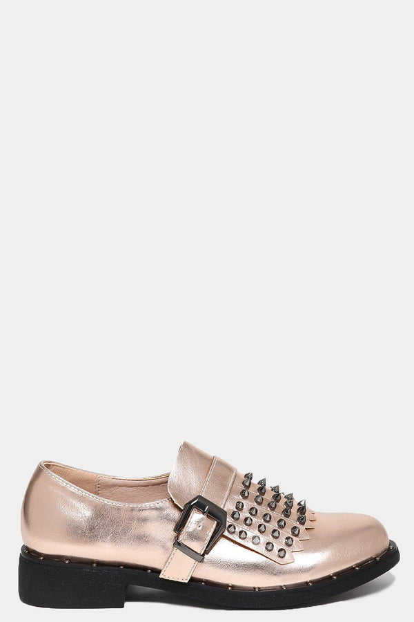Champagne Studded Tassel Front Loafers-SinglePrice
