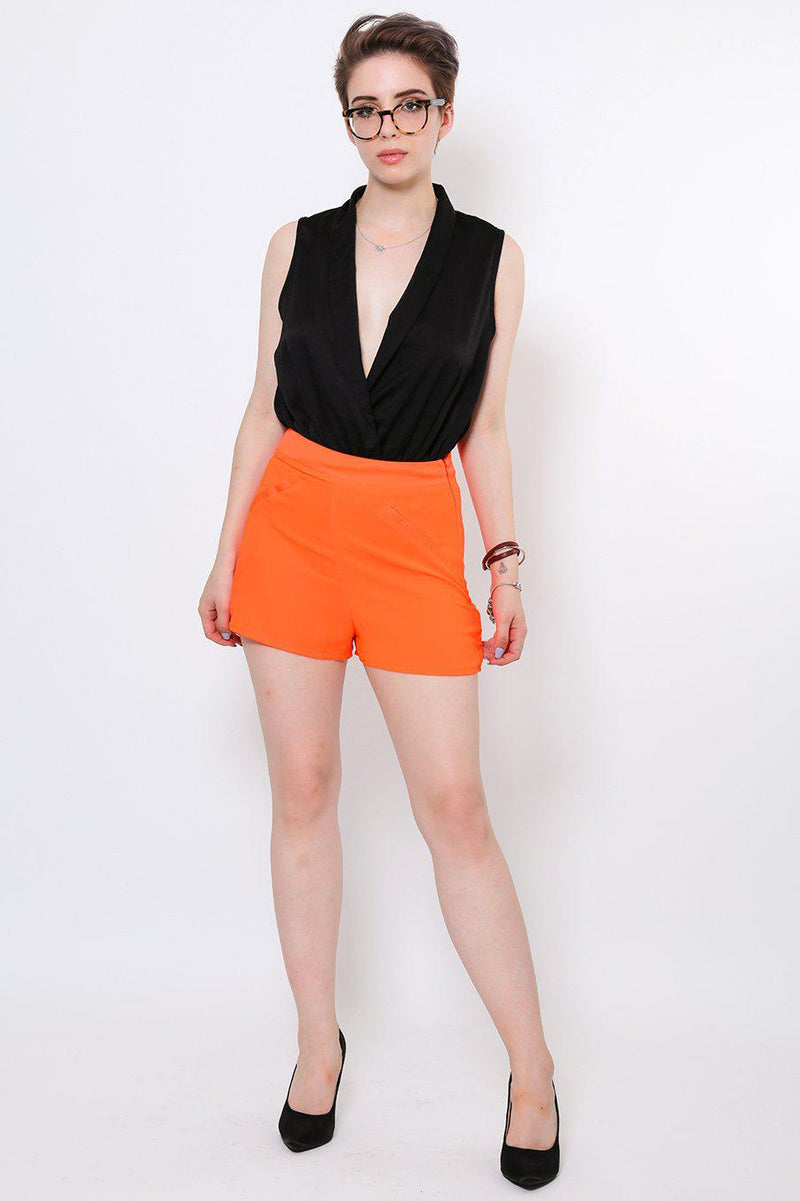 High Waisted Smart Orange Shorts - SinglePrice