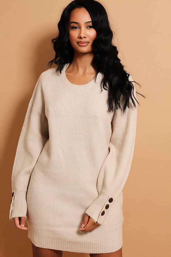 Beige Buttoned Cuffs Relaxed Fit Knitted Jumper Dress - SinglePrice