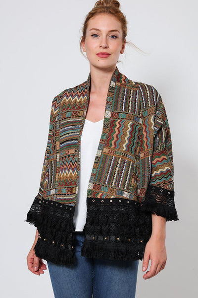 Green Open Front Embroidered Jacket-SinglePrice