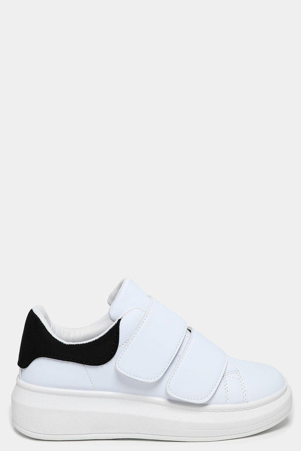Black Cuffs White Velcro Trainers-SinglePrice