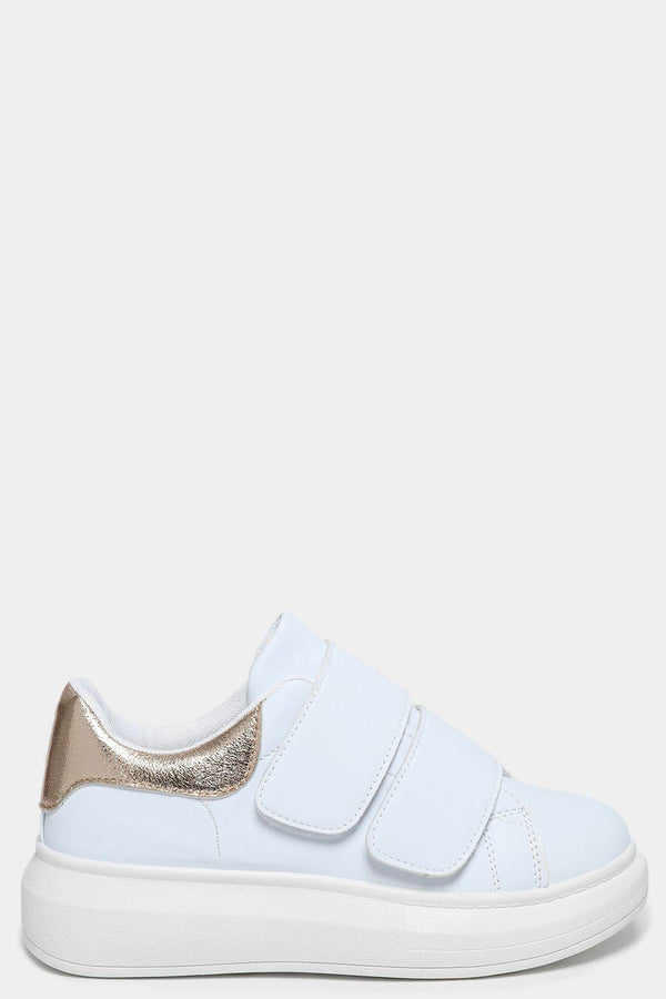 Golden Cuffs White Velcro Trainers - SinglePrice
