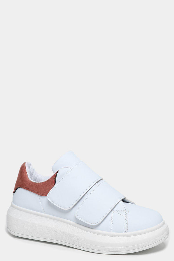 Pink Cuffs White Velcro Trainers - SinglePrice