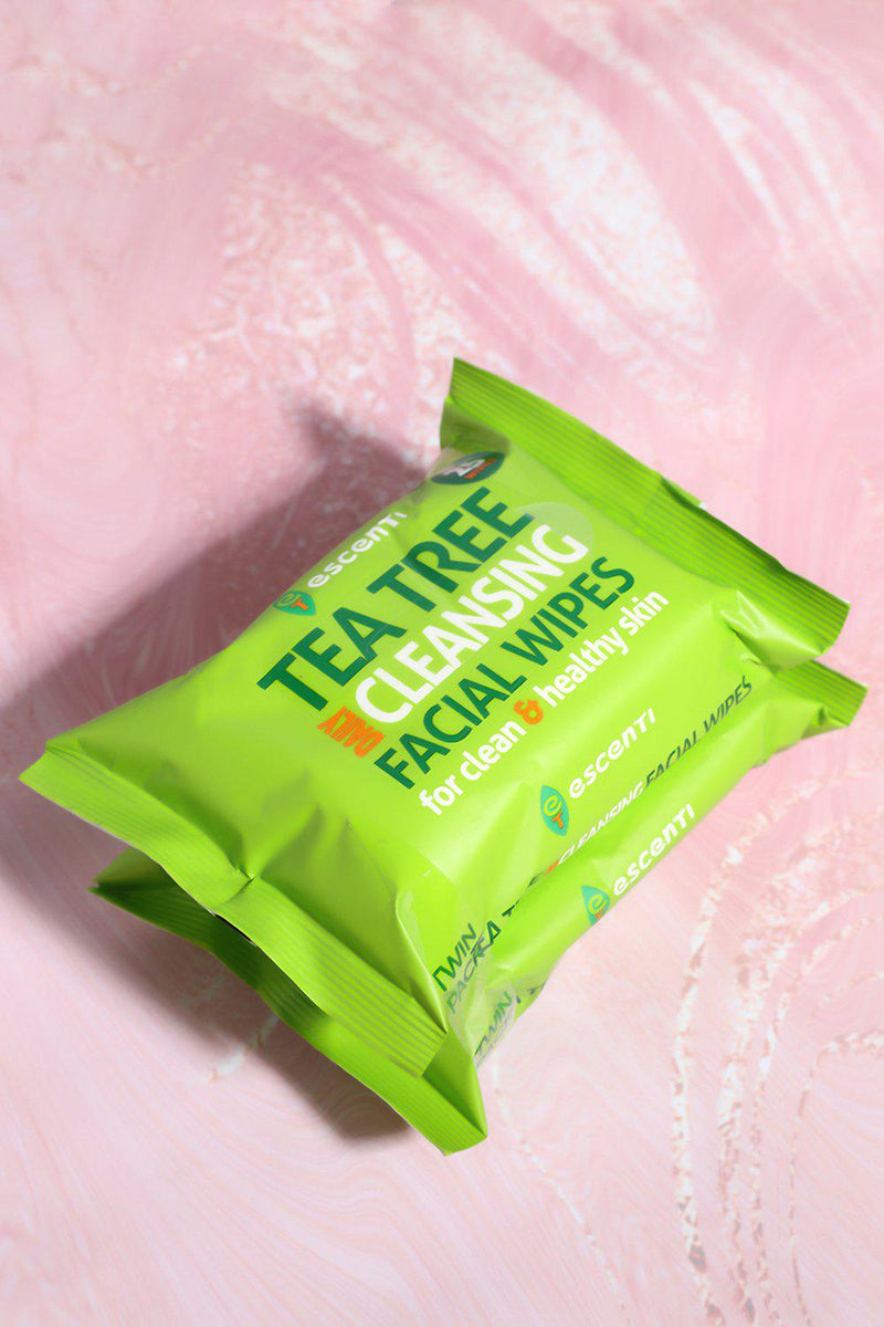 Pack of 2 Escenti Tea Tree Cleansing Facial Wipes - SinglePrice
