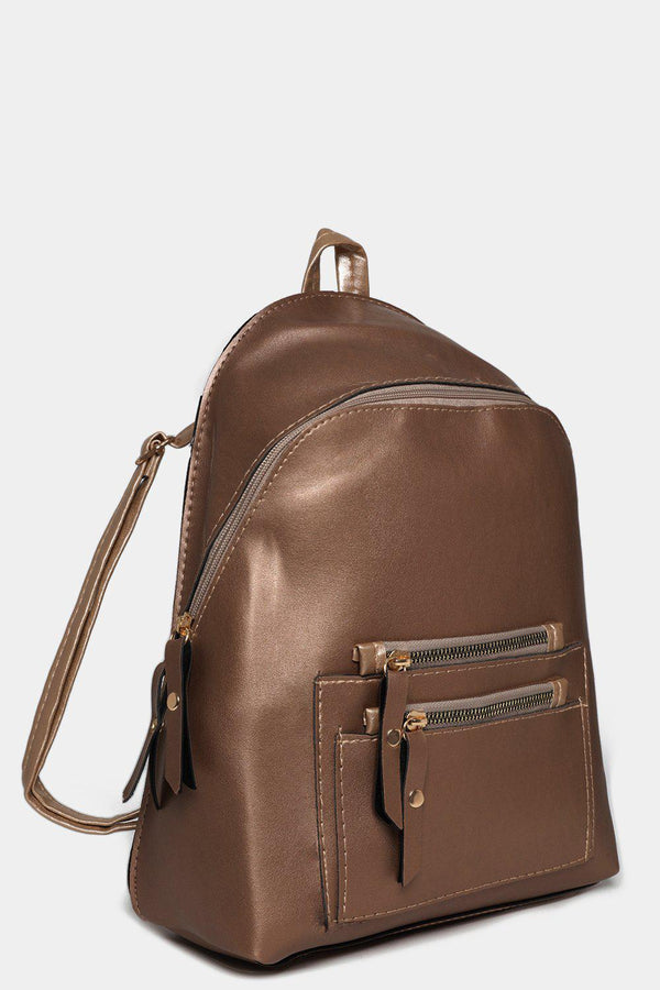 Bronze Vegan Leather Dual Zip Backpack-SinglePrice