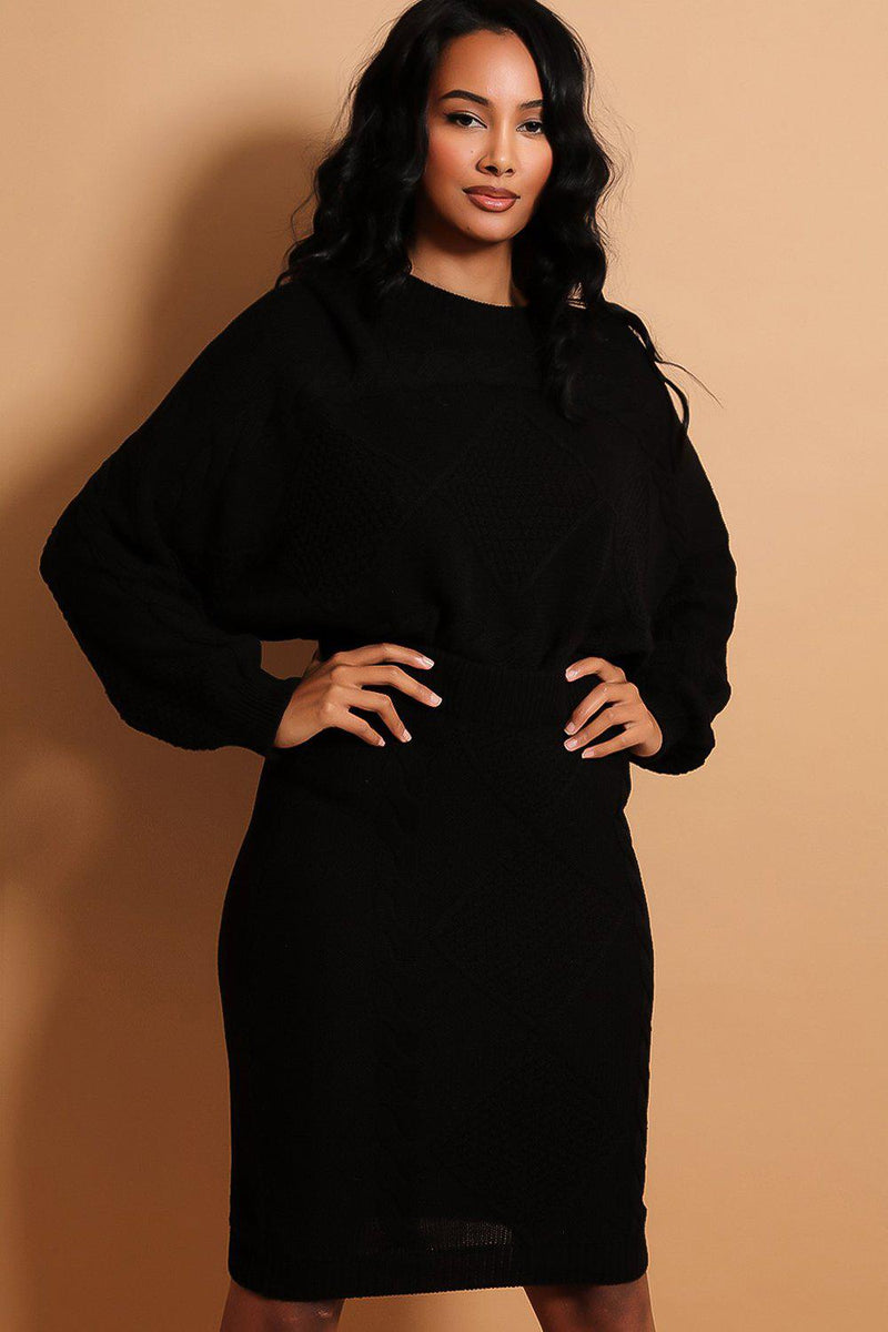Black Chunky Mixed Knits Batwing Sleeves Pullover And Skirt Set - SinglePrice