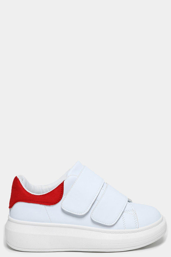 Red Cuffs White Velcro Trainers - SinglePrice
