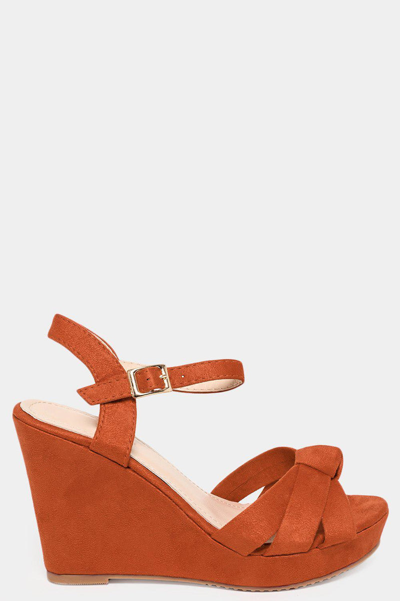 Camel Twisted Knot Straps Vegan Suede Wedges - SinglePrice