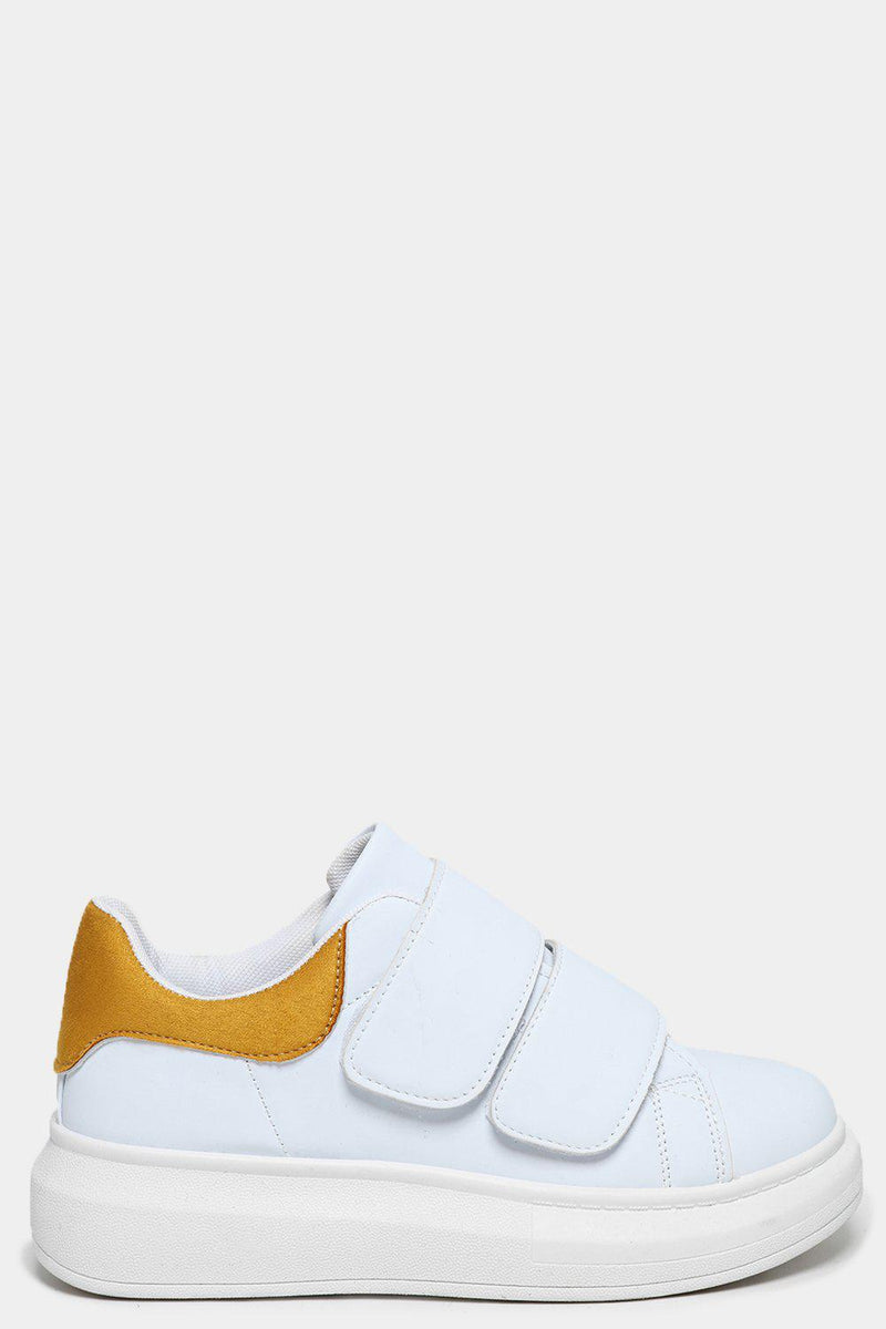 Yellow Cuffs White Velcro Trainers - SinglePrice
