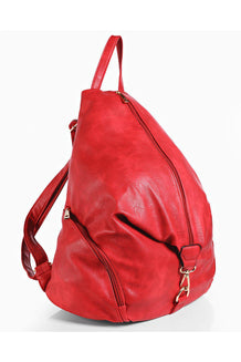 Red Front Zip Adjustable Size Backpack