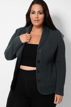 Forest Green Textured Single Breasted Blazer - SinglePrice
