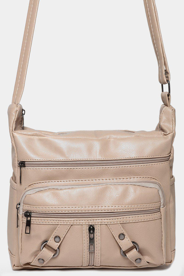 Beige Front Pockets Messenger Bag-SinglePrice