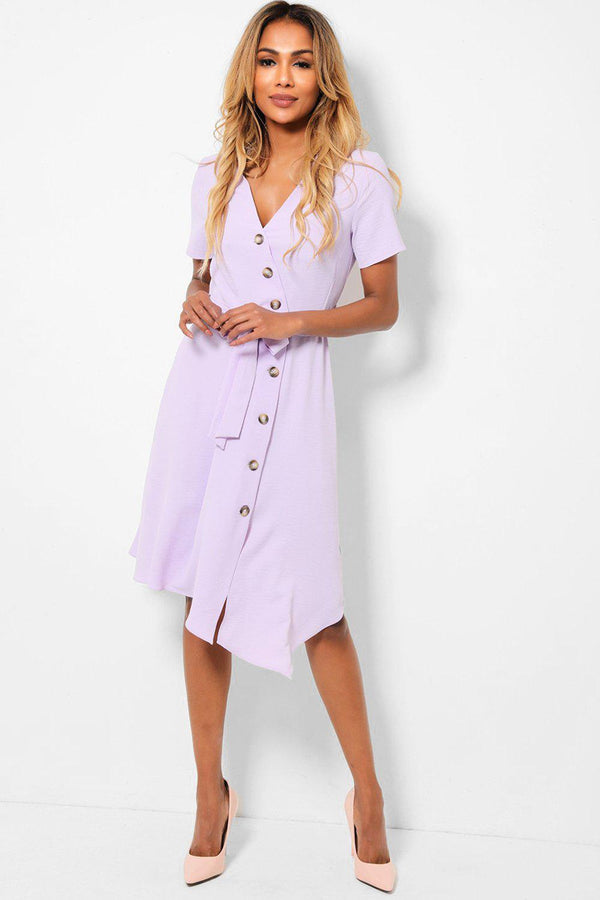Lilac Asymmetric Button Front Belted Midi Dress-SinglePrice