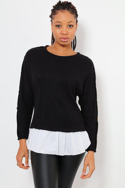 Wooden Buttons Sleeve Black Smart Jumper