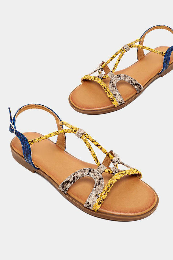 Multicolour Thin Python Print Straps Yellow Sandals - SinglePrice