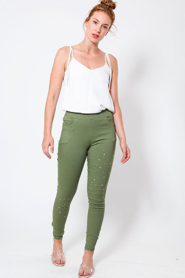 Green Studded Skinny Trousers-SinglePrice